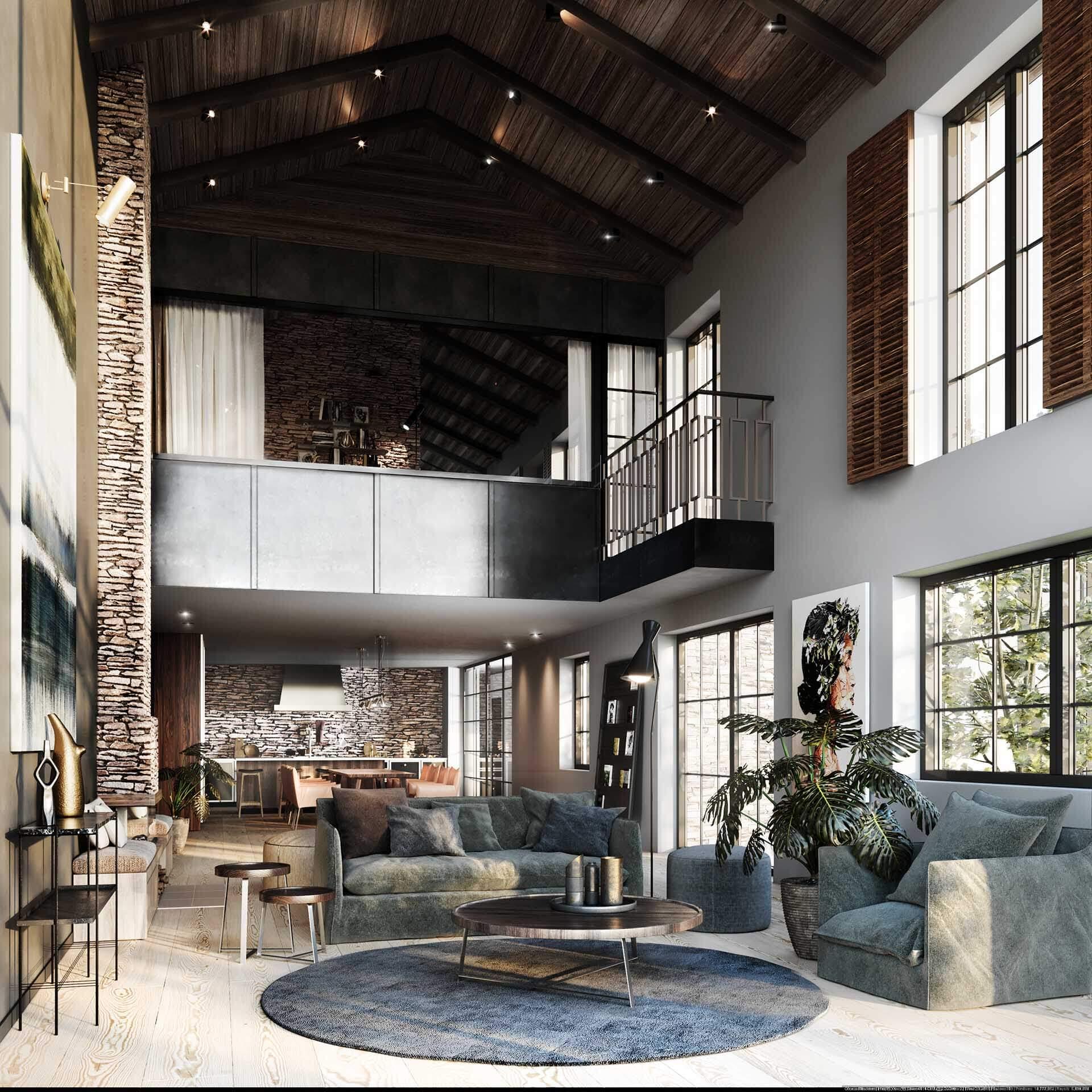 3D-Vizual | 3D Visualisering | Køkkenalrum | Arkitekt 12 - Hus Piemonte