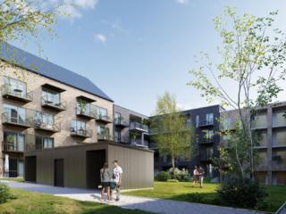 3D-Vizual | 3D Visualisering | Gårdmiljø med træer |Projekt - Calum - Studiohouse.dk