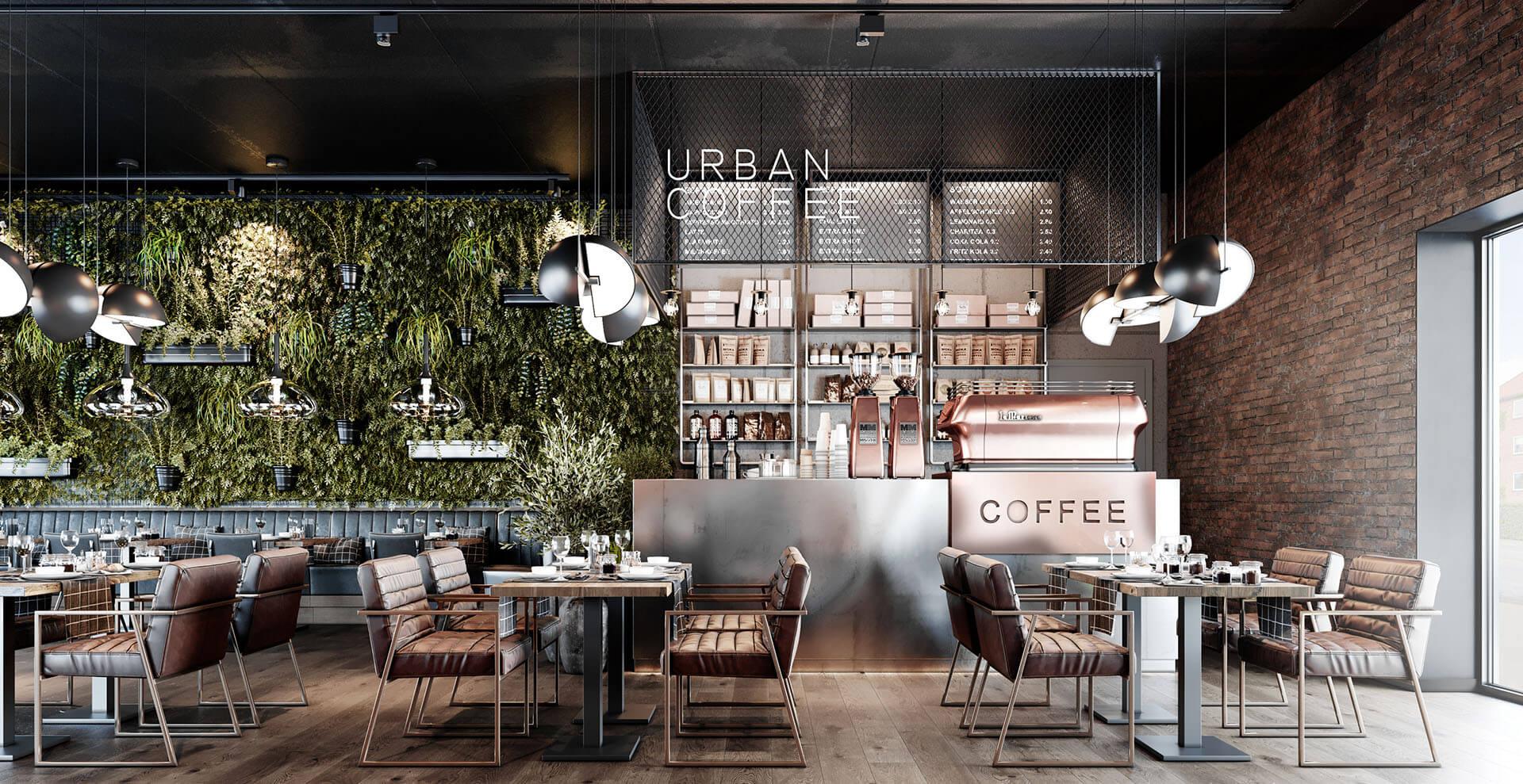3D-Vizual | 3D Visualisering | Cafe indretning | HOTEL & RESTAURANT 4.1 - Cafe Herlev